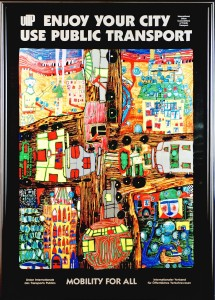 ZE-  NEW Enjoy Your City - Use Public Transport - Mobility For All   UITP Poster by Friedensreich Hundertwasser