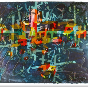 """""""City in Blue"""" Limited Edition Serigraph Print by Yankel Ginzburg"""