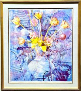 """Rhapsody in Blue"" Mixed-Media Serigraph by Yankel Ginzburg"